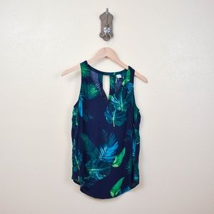 Old Navy Tops - OLD NAVY Navy Palm Leaf Tank Top B13